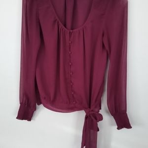 Sheer Wine Color Blouse